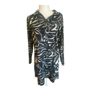 Sacred Threads Black Tan Abstract Dress Stretch L